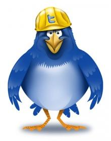 Сине голубая птица в жёлтой каске