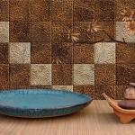 коричневые обои в виде плитки для кухни