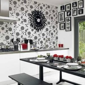 чёрно-белые обои для кухни