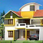 Загородный дом жёлто белый