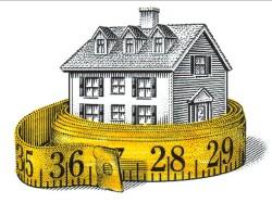 Нарисованный дом, обмотанный сантиметровой лентой
