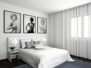 Белая кровать светло серые стены