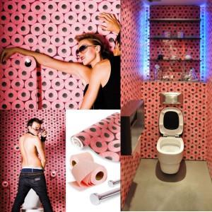 Реклама обоев для туалета в виде рулонов туалетной бумаги