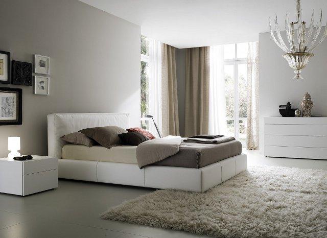 Серые обои белая мебель