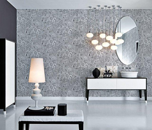 Серые обои чёрно-белая мебель