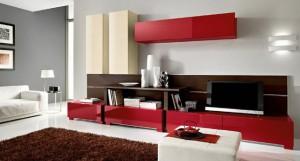 Серые обои красная мебель