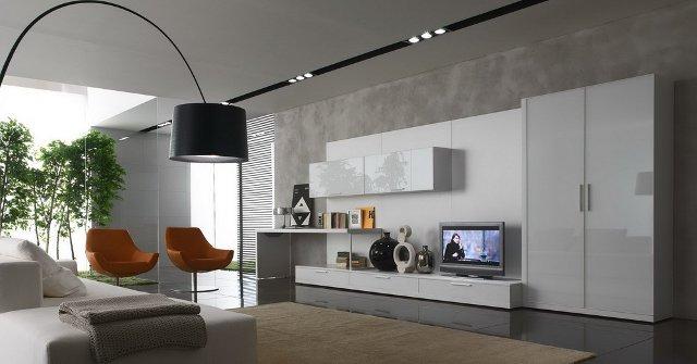 Серые обои серо-белая мебель