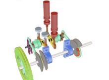 Схема расположения цилиндров в двигателе Стирлинга по конфигурации двойной альфы