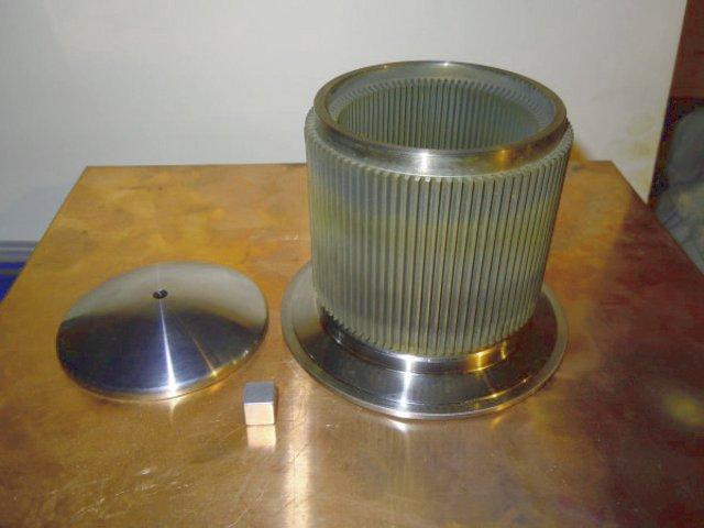 Ребристый снаружи и внутри нагреватель двигателя стирлинга из нержавейки