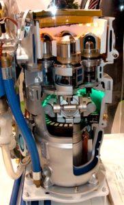 Двигатель Стирлинга двойного действия в разрезе
